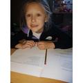 Eleanor working hard on some English