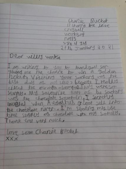 Brilliant detailed letter to Willy Wonka Zak.