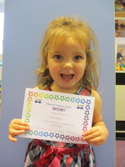 Well done. You are always so enthusiastic with every activity available in Nursery.