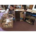 Holly's creations made from cardboard boxes.