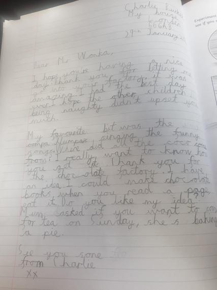 Fantastic detailed letter to Willy Wonka Henry M you have enjoyed the English this week.