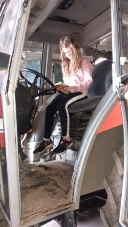 Xanthe has been reading in interesting places on World Book Day!