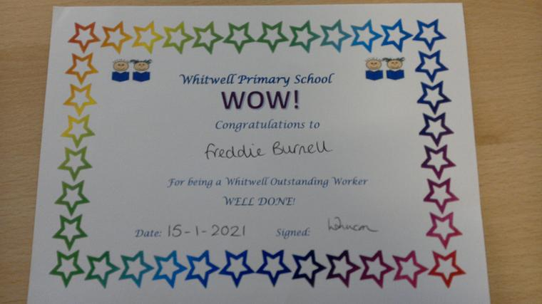 Freddie has been a super star home learner