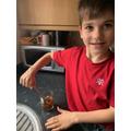 Matthew doing his science experiement