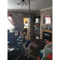 A huge lego tower that James enjoyed building.