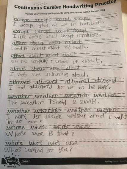Fantastic spelling practise Zak.