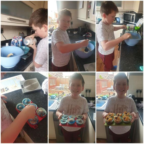 Fantastic pictures of Henry baking for his DT work today.