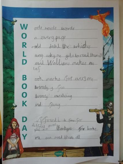Fantastic poem on World Book Day Henry J!