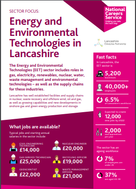 Lancashire Skills Hub-   Energy and Environmental Technologies  in Lancashire Fact sheet