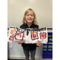 Homework - Daisy created artwork based on the Great Fire of London.