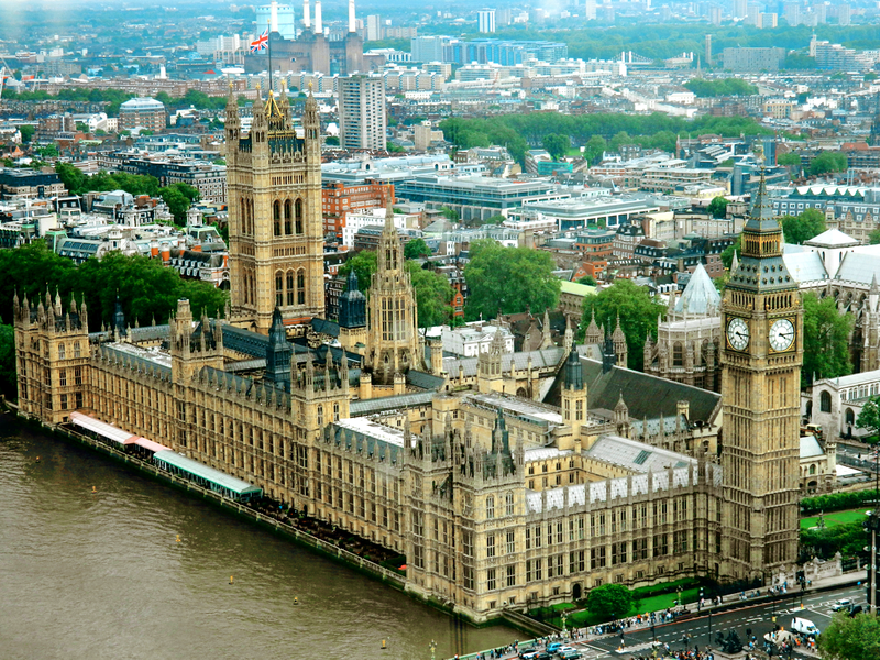Palace of Westminster in London - parliament and government offices