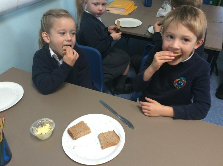 Making honey sandwiches during our Bee Topic