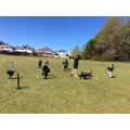 Enjoying cricket in the sun!