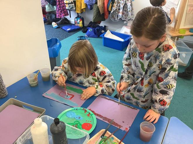 Our painting surface is flat so we can mix colours more easily