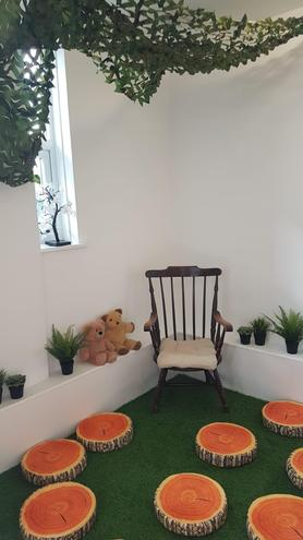 Our 'jungle' cosy corner is also a favourite location for small world play