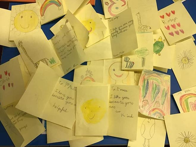 Class 2 wrote kind messages on World Mental Health Day.
