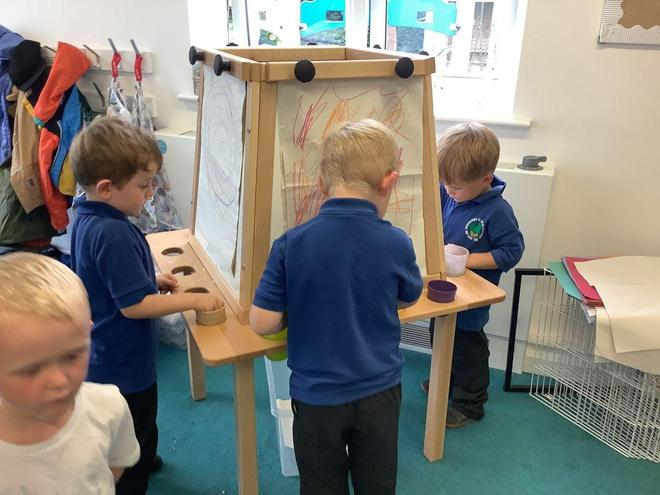 Our easel for pastels and crayons