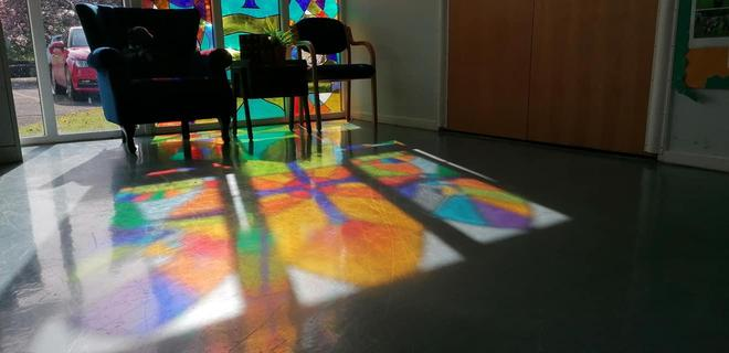 We have reflective areas inside and outside where children can think or pray.