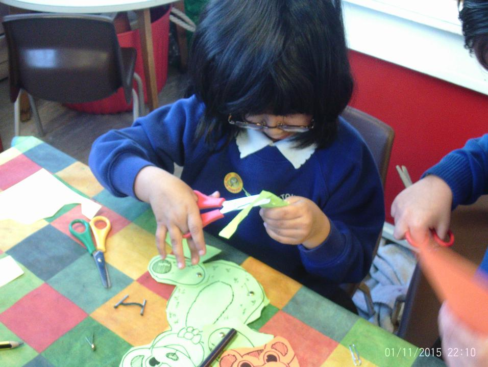 Cutting and joining in Reception.