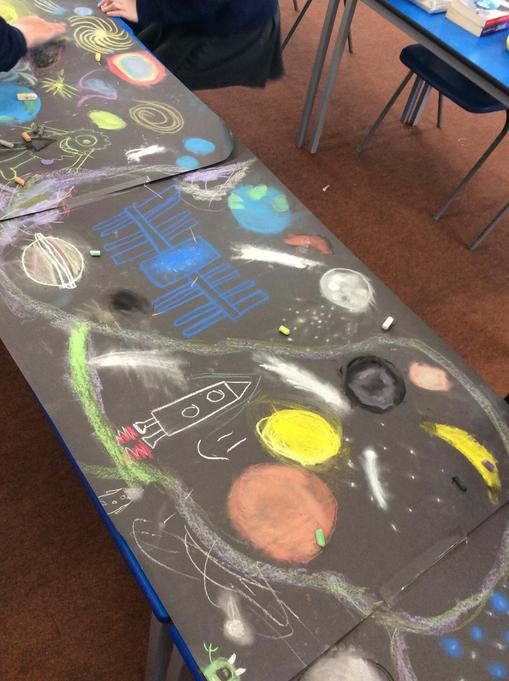 A close up of some of the great Art work using chalk