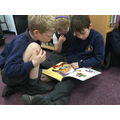 Reading in the library with reception
