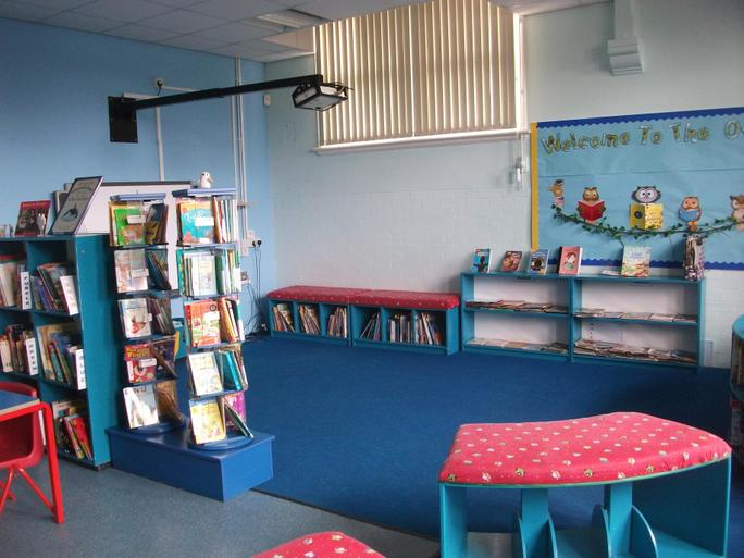 The Owl Barn library area