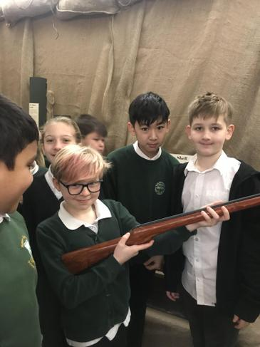 We got to hold a rifle
