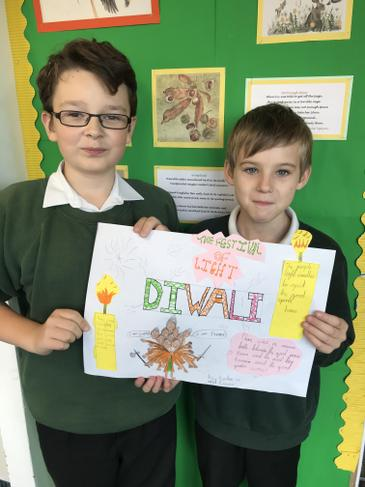 Kaiden and Kieran's information sheet on Diwali
