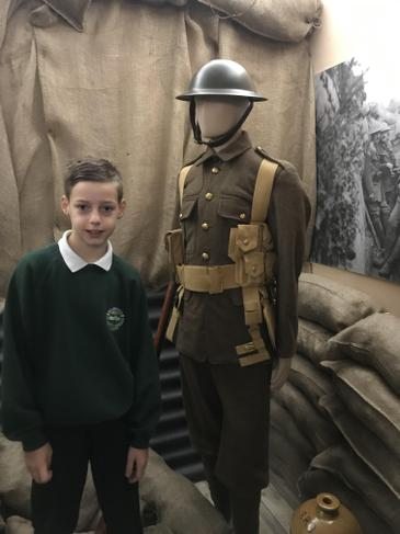 Liam enjoyed looking at soldier's uniforms