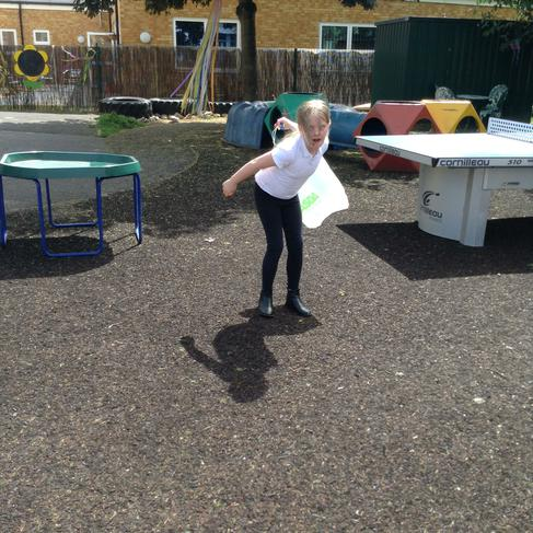 Enjoying the science experiment on seed dispersal