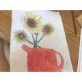 Emily's fantastic sunflower art. Well done!