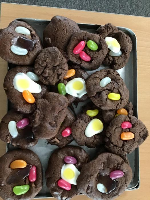 We made 'bean and egg' cookies (inspired by our book 'Jack and the Baked Beanstalk').
