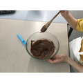 We melted chocolate