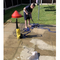 Harvey wanted to show how he jet washed the flags