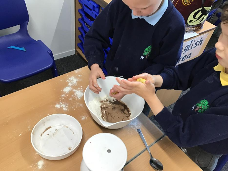 We made our own chocolate play-dough.