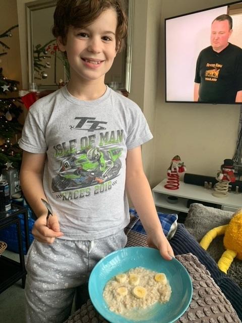 Jack loves making his own breakfast each day, porridge with banana and honey