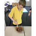 We put in marshmallows & smarties to make it crunchie!