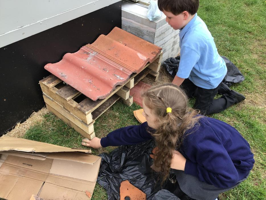 Our Bug Hotel is under construction!