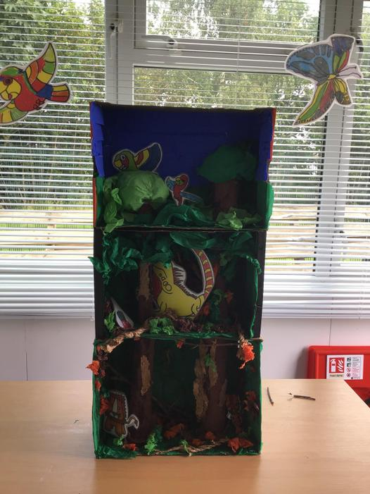 Our rainforest model (featuring our drawings)