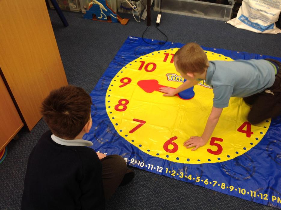 Learning how to tell the time.