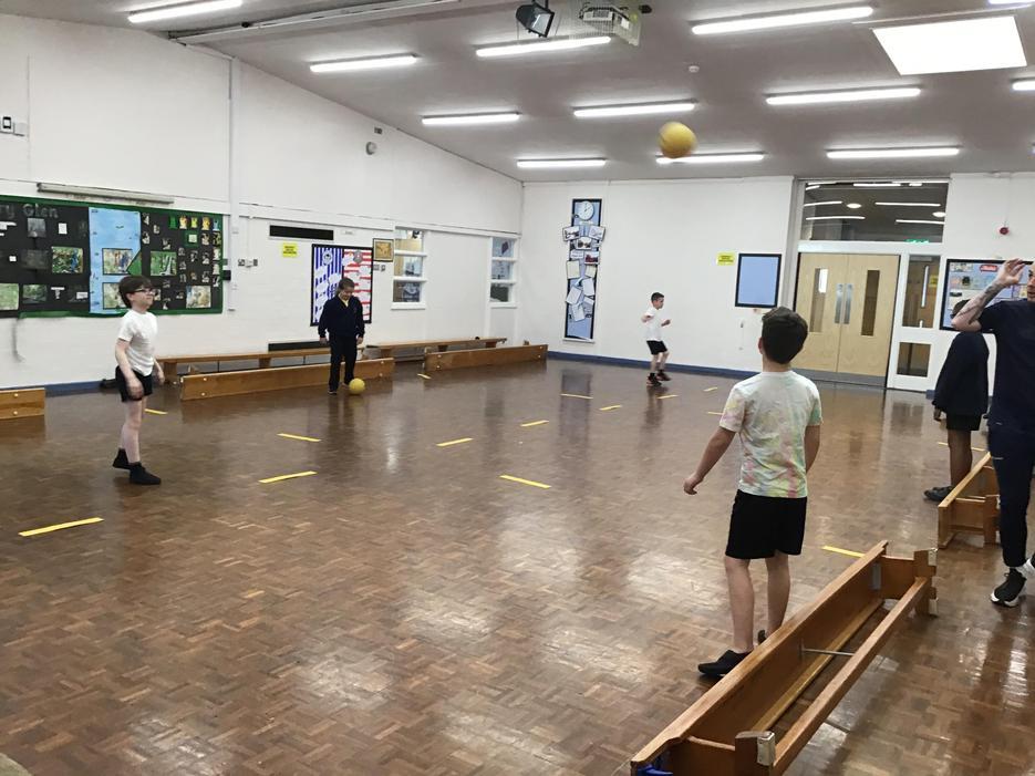 We enjoyed playing bench ball in P.E.