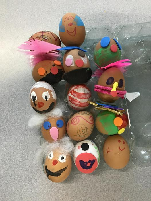 We enjoyed decorating eggs for Easter & we did some lovely art work too.
