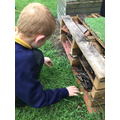 We re-purposed materials to make a Bug-Hotel.