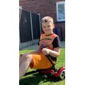 Harvey, enjoying the sunshine on his Segway gokart
