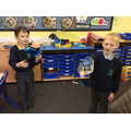 We made fish and sharks using bottles.