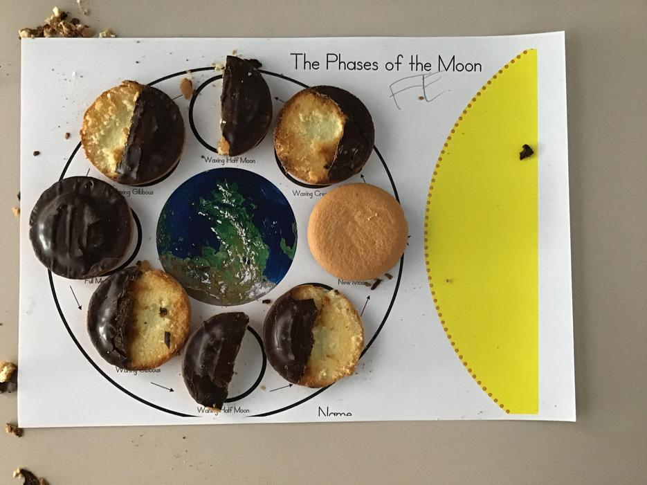 Children looked at the phases of the moon.