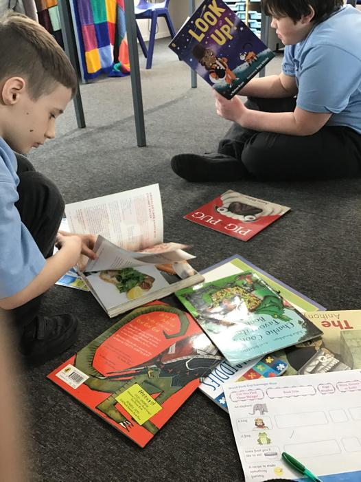 In the afternoon, we had a book scavenger hunt.