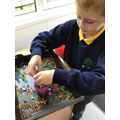 The sensory water-beads changed size.