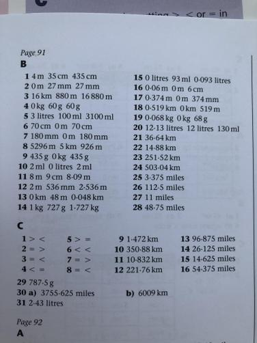Maths Lesson ANSWERS (Task B and C)