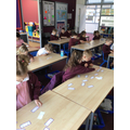We worked together on multiples dominoes.